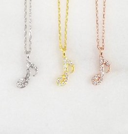 Andrea Justine Stratton Music Note CZ 22kt Rose Gold Vermeil Necklace
