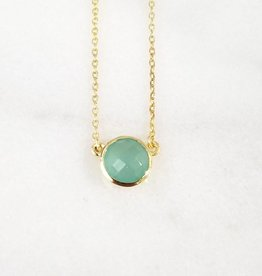 Andrea Justine Stratton Aqua Chalcedony Gemstone 22kt Gold Plated Necklace