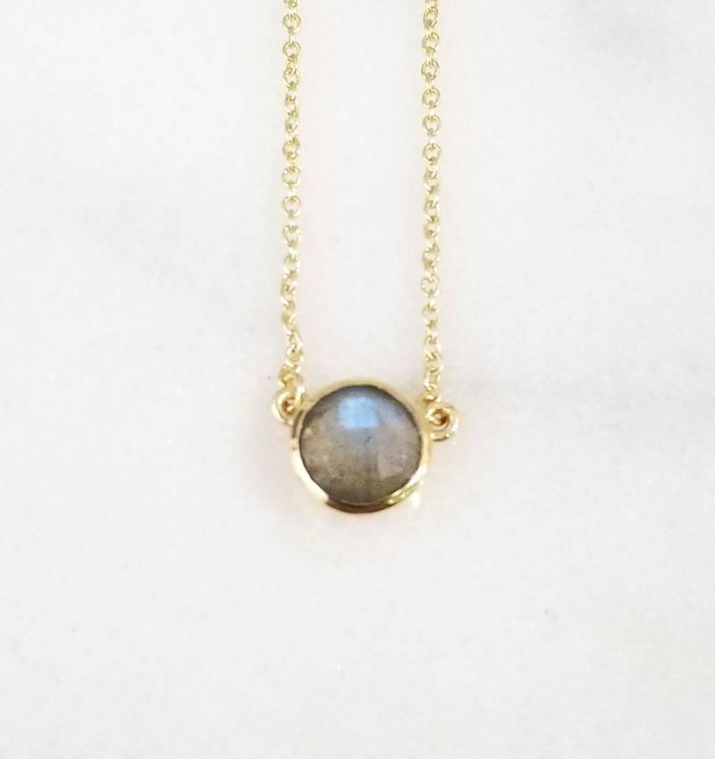 Andrea Justine Stratton Labradorite Gemstone 22kt Gold Plated Necklace