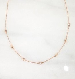 Andrea Justine Stratton 7 Circle Cubic Zirconia 22kt Rose Gold Vermeil Necklace