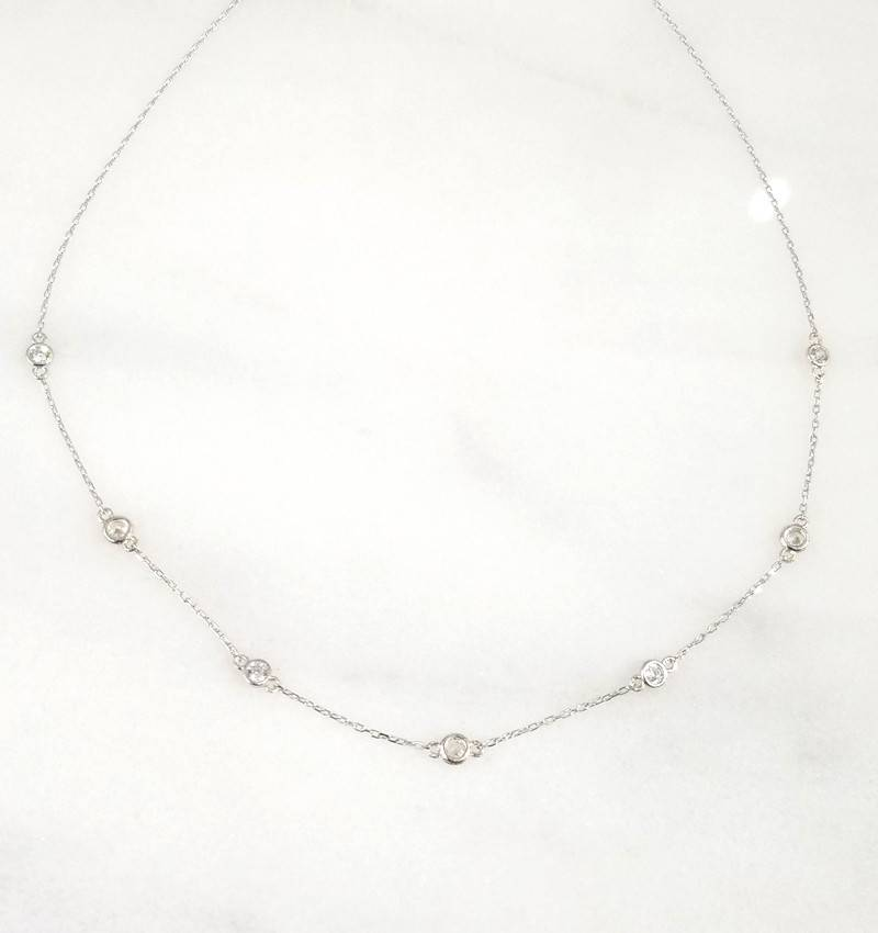Andrea Justine Stratton 7 Circle Cubic Zirconia Sterling Silver Necklace