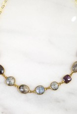Andrea Justine Stratton 9 Sapphire Gemstone 22kt Gold Vermeil Necklace