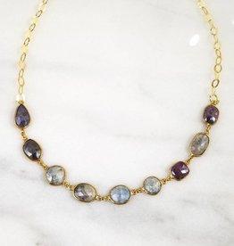 Andrea Justine Stratton 9 Sapphire Gemstone 22kt Gold Vermeil Necklace