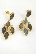 Andrea Justine Stratton Labradorite 5 Stone Chandelier 22kt Gold Plated Earrings