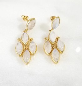 Andrea Justine Stratton Moonstone 5 Stone Chandelier 22kt Gold Plated Earrings