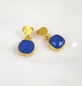 Andrea Justine Stratton Blue  Chalcedony Gemstone Square 22kt Gold Plated Earrings