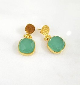 Andrea Justine Stratton Aqua Chalcedony Gemstone Square 22kt Gold Plated Earrings