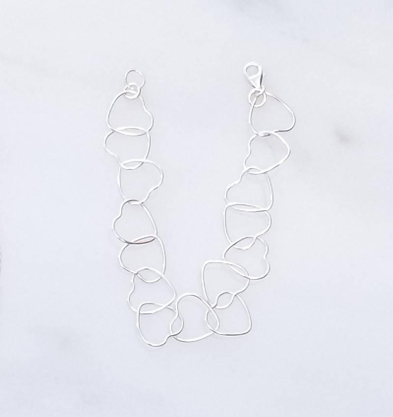 Precila G Heart Links Sterling Silver Bracelet