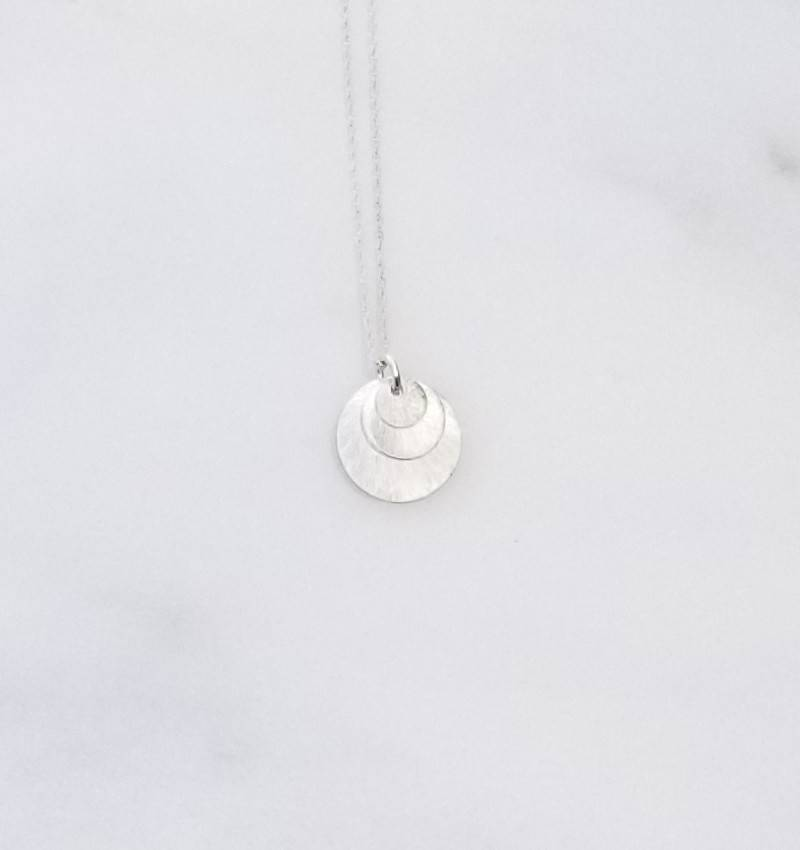 """Precila G 3 Stack Discs Brushed Sterling Silver 16"""" Necklace"""