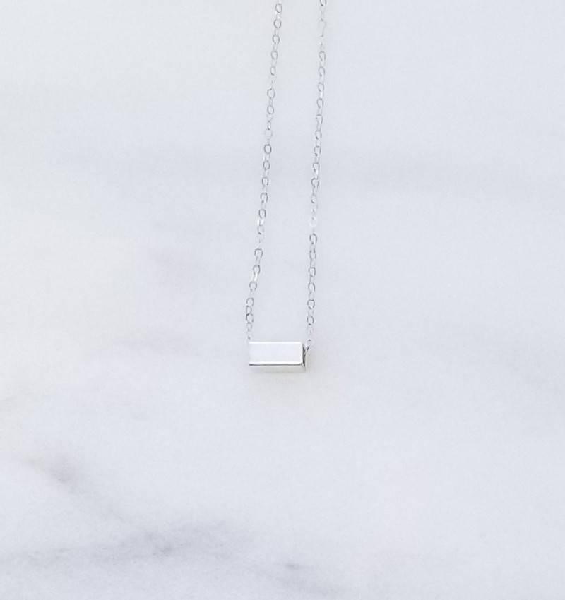 """Precila G Rectangle Slider Brushed Sterling Silver 16"""" Necklace"""