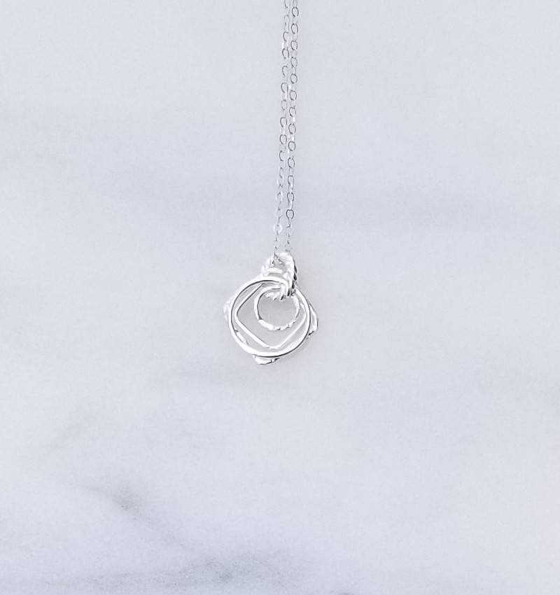 """Precila G Rings Squares Textured Sterling Silver 16"""" Necklace"""