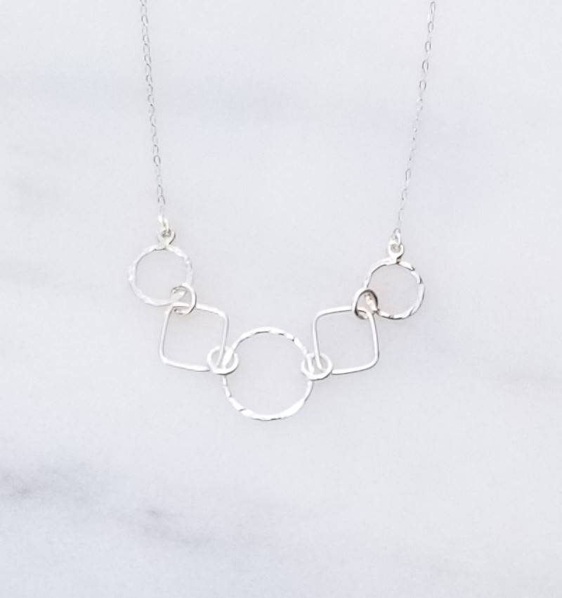"""Precila G Circles Squares Smooth Textured Sterling Silver 16"""" Necklace"""