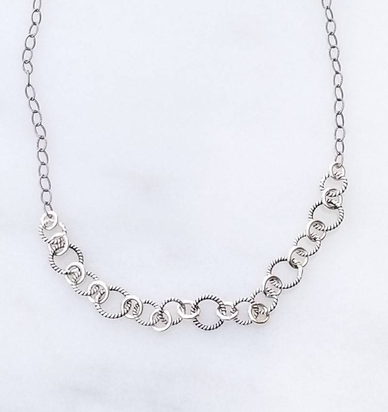 "Precila G Twisted Rings Oxidized Sterling Silver 16"" Necklace"