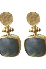 Andrea Justine Stratton Labradorite Gemstone Square 22kt Gold Plated Earrings