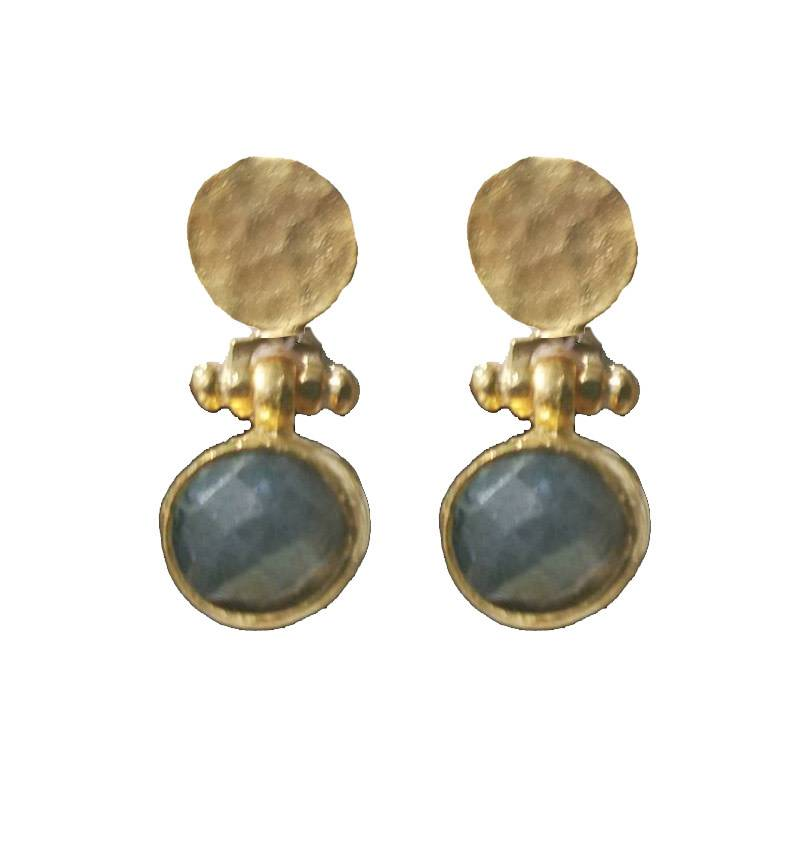 Andrea Justine Stratton Labradorite Gemstone Circles 22kt Gold Plated Earrings