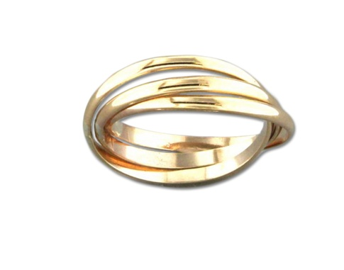 Mark Steel Rolling Trio Ring Gold Filled
