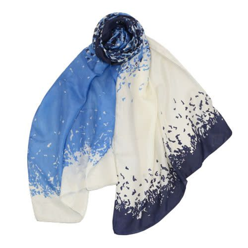 AE Scarves Flying Fox - 100% Silk, bird/abstract screen print, ombre - Blue