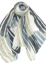 AE Scarves Freeform - 100% Silk, Handpainted stripes/color blocks - Pebble Gray