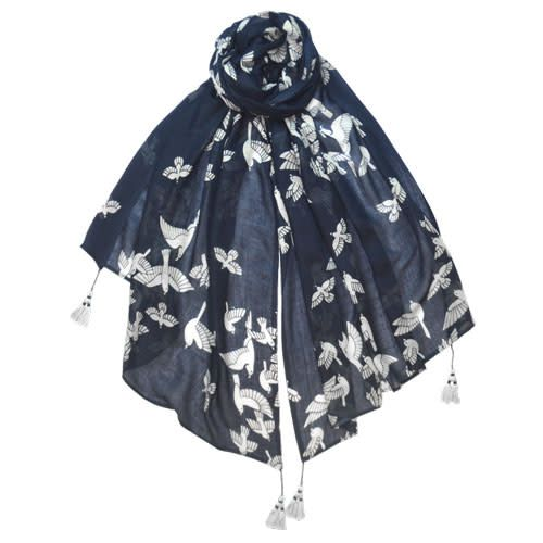 AE Scarves Goldfinch - 100% Viscose, Graphic birds, 4-corner tassels - Navy/White