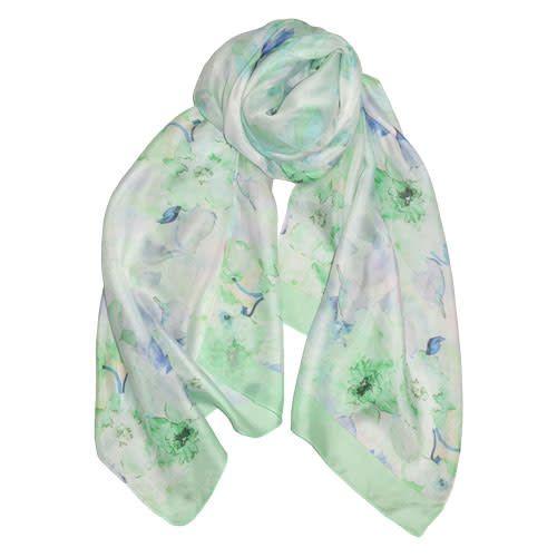 AE Scarves Heart String - 100% Silk, Watercolor floral, Digital - Aqua/Green