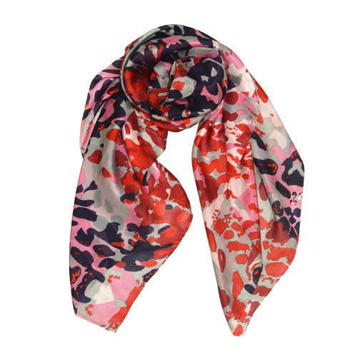 AE Scarves Juddi - 100% silk, camouflage screen print - red