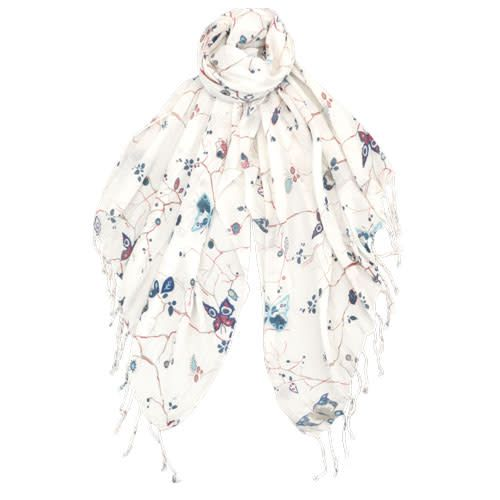 AE Scarves Kelsey - 100% Viscose, Floral branches with butterflies w/fringe - White/Green