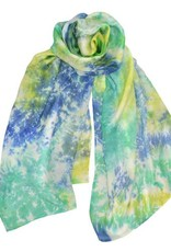 AE Scarves Nebula - 100% Silk, Abstract tie-dye with large color blocks, Tie Dye - Blue
