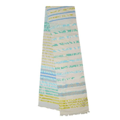 AE Scarves Sahara- cotton/linen scarf, eyelash fringe - blue