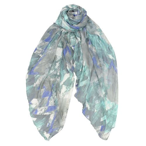 AE Scarves Vance - Viscose/Modal, Abstract chevron, crinkled - Blue