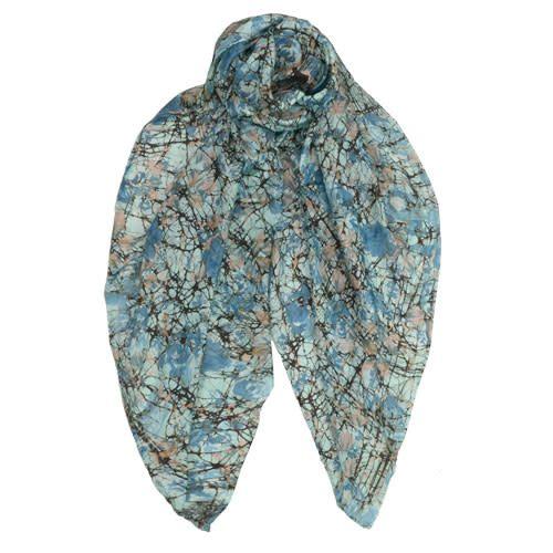 AE Scarves Wingate - 100% Silk, Handmade Batik Block print flora/abstract - Cadet Blue
