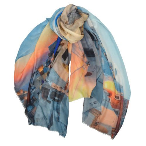 AE Scarves Thira - 65% Cotton|35% Modal, Santorini rooftops at sunset, Digital - Blue