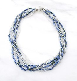 Safari Murano Periwinkle Layered Crystal Magnetic Clasp Necklace 18""