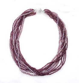 Safari Murano Purple Layered Crystal Magnetic Clasp Necklace 18""