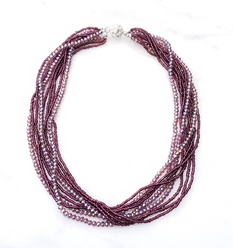 "Safari Murano Purple Layered Crystal Magnetic Clasp Necklace 18"""