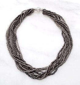 Safari Murano Gray Layered Crystal Magnetic Clasp Necklace 18""