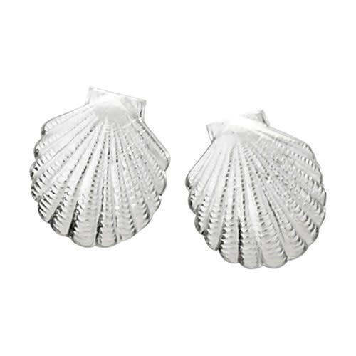Steven + Clea Scallop Shell Sterling Silver Stud Earrings