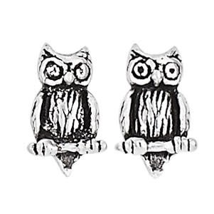 Steven + Clea Owl Sterling Silver Stud Earring