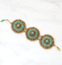 Esmeralda Lambert Turquoise Gold Handwoven Swarovski Crystal Bracelet