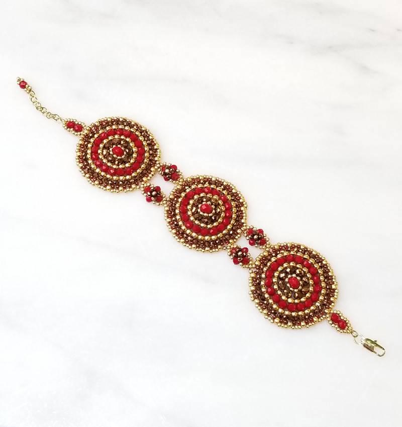 Esmeralda Lambert Red Bronze Gold Handwoven Swarovski Crystal Bracelet