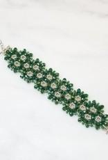 Esmeralda Lambert Green Sterling Silver Handwoven Crystal Bracelet