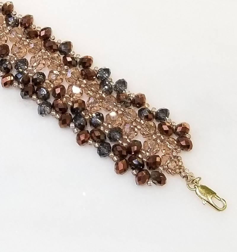 Esmeralda Lambert Rose Metallic Gold Filled Handwoven Crystal Bracelet
