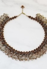 Esmeralda Lambert Rose Metallic Gold Filled Handwoven Crystal Necklace