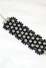 Esmeralda Lambert Midnight Blue Sterling Silver Handwoven Crystal Bracelet