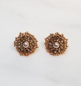 Esmeralda Lambert Rose Metallic Handwoven Crystal Earrings
