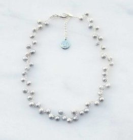 Marpa Eager Light Gray Pearl Hand Knitted Silver Necklace
