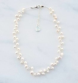 Marpa Eager White Pearl Hand Knitted Silver Necklace