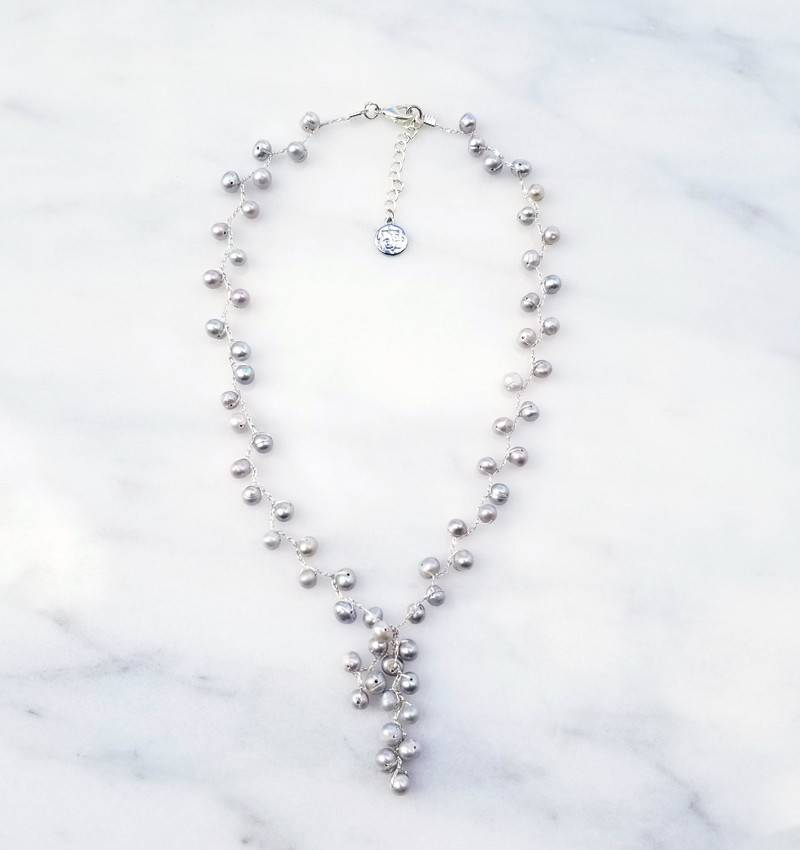 Marpa Eager Light Gray Pearl Silk Thread Handmade Silver Necklace