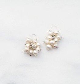 Marpa Eager White Pearl Handmade Silver Earrings