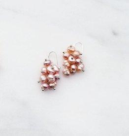 Marpa Eager Rose Pink Pearl Handmade Silver Earrings