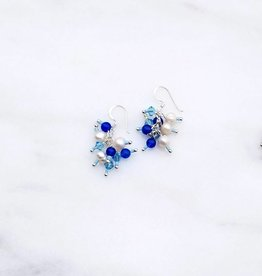 Marpa Eager Blue Pearl Silk Thread Handmade Earrings